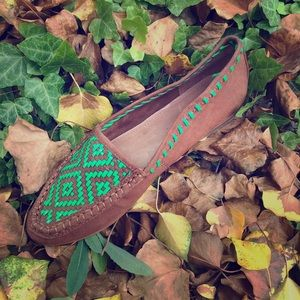 Joie Aliso Woven Neon Green Camel Leather Loafers